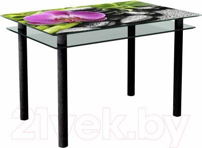 Обеденный стол Artglass Сказка Орхидея розовая (черный)