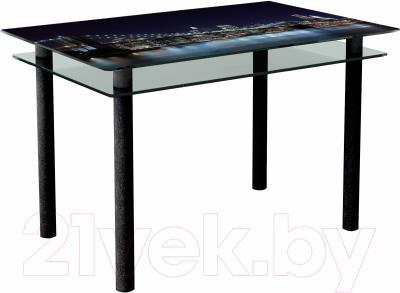 Обеденный стол Artglass Сказка Ночной город (черный)
