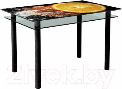 Обеденный стол Artglass Сказка Апельсин (черный)