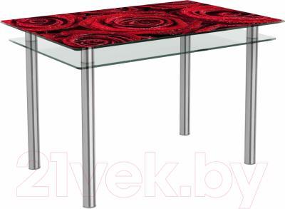 Обеденный стол Artglass Сказка Розы (хром)