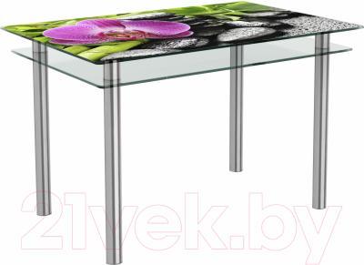 Обеденный стол Artglass Сказка Орхидея розовая (хром)