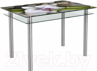 Обеденный стол Artglass Сказка Орхидея белая (хром)
