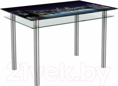 Обеденный стол Artglass Сказка Ночной город (хром)