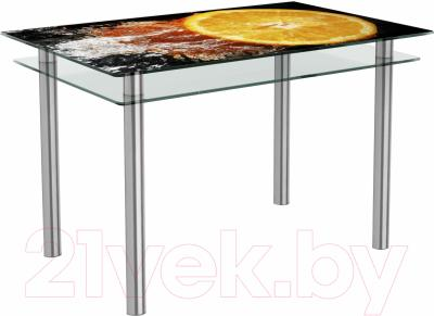 Обеденный стол Artglass Сказка Апельсин (хром)