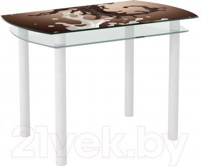 Обеденный стол Artglass Октава Шоколад (белый)