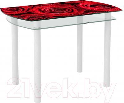 Обеденный стол Artglass Октава Розы (белый)