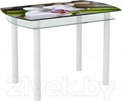 Обеденный стол Artglass Октава Орхидея белая (белый)