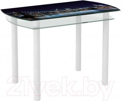 Обеденный стол Artglass Октава Ночной город (белый)