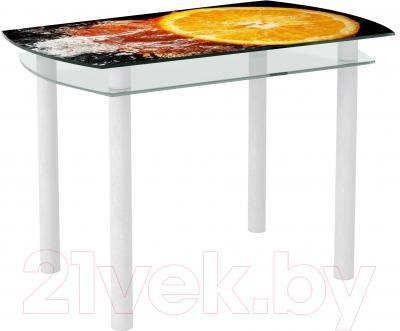 Обеденный стол Artglass Октава Апельсин (белый)