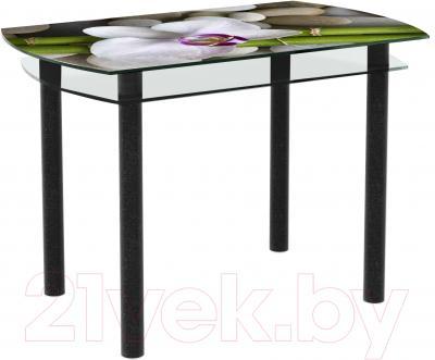 Обеденный стол Artglass Октава Орхидея белая (черный)