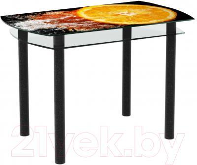 Обеденный стол Artglass Октава Апельсин (черный)