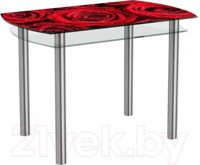 Обеденный стол Artglass Октава Розы (хром)