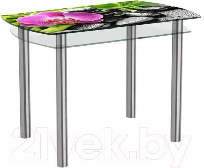 Обеденный стол Artglass Октава Орхидея розовая (хром)