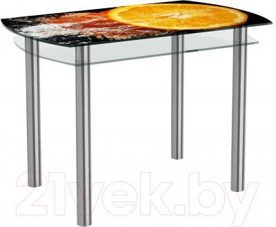 Обеденный стол Artglass Октава Апельсин (хром)