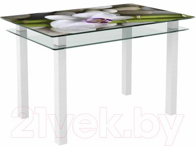Обеденный стол Artglass Кристалл Орхидея белая (белый)
