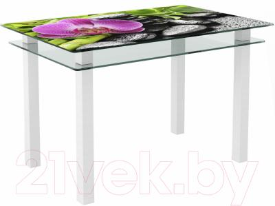 Обеденный стол Artglass Кристалл Орхидея розовая (белый)