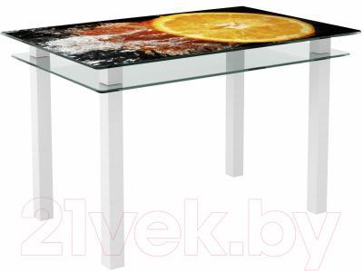 Обеденный стол Artglass Кристалл Апельсин (белый)