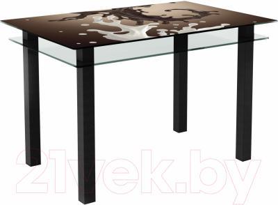 Обеденный стол Artglass Кристалл Шоколад (черный)