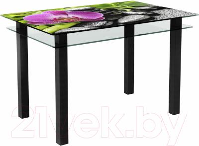 Обеденный стол Artglass Кристалл Орхидея розовая (черный)