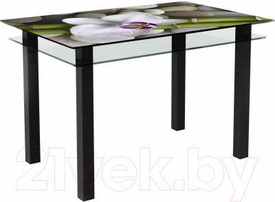 Обеденный стол Artglass Кристалл Орхидея белая (черный)