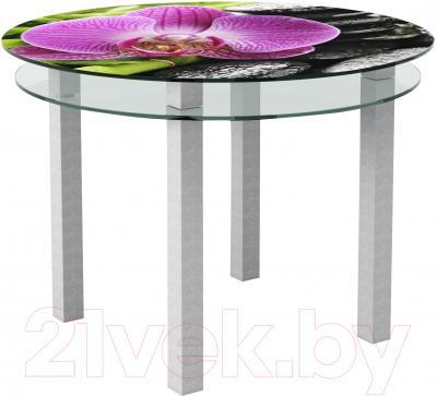 Обеденный стол Artglass Ringo Cristal Орхидея розовая