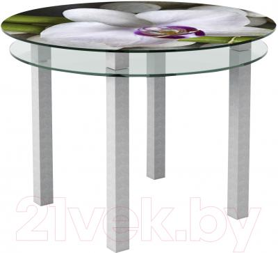 Обеденный стол Artglass Ringo Cristal Орхидея белая