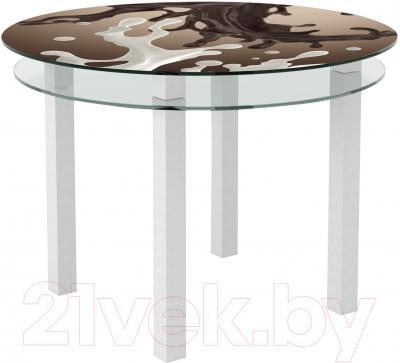 Обеденный стол Artglass Ringo Cristal Шоколад (белый)