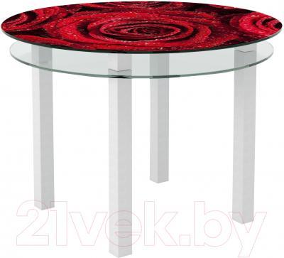 Обеденный стол Artglass Ringo Cristal Розы (белый)