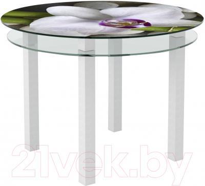 Обеденный стол Artglass Ringo Cristal Орхидея белая (белый)