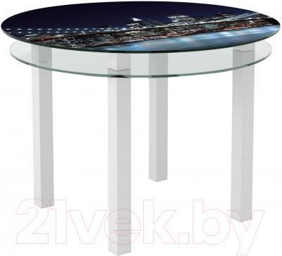 Обеденный стол Artglass Ringo Cristal Ночной город (белый)