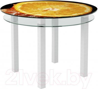 Обеденный стол Artglass Ringo Cristal Апельсин (белый)