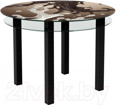 Обеденный стол Artglass Ringo Cristal Шоколад (черный)