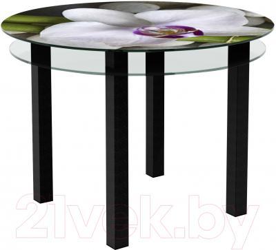 Обеденный стол Artglass Ringo Cristal Орхидея белая (черный)