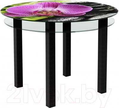 Обеденный стол Artglass Ringo Cristal Орхидея розовая (черный)