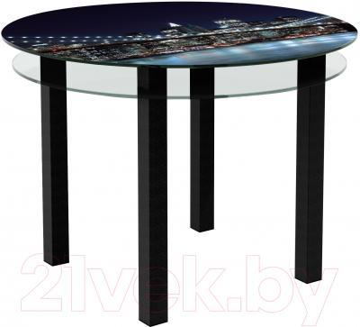 Обеденный стол Artglass Ringo Cristal Ночной город (черный)