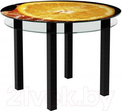 Обеденный стол Artglass Ringo Cristal Апельсин (черный)