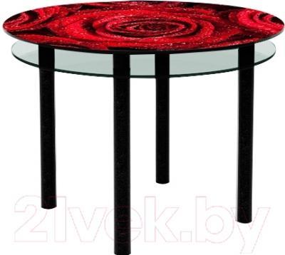 Обеденный стол Artglass Ringo Tale Розы (черный)