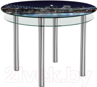 Обеденный стол Artglass Ringo Tale Ночной город (хром)