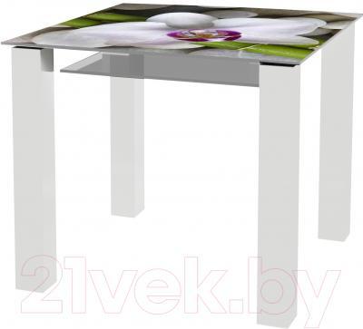 Обеденный стол Artglass Palermo 90 Орхидея белая (белый)