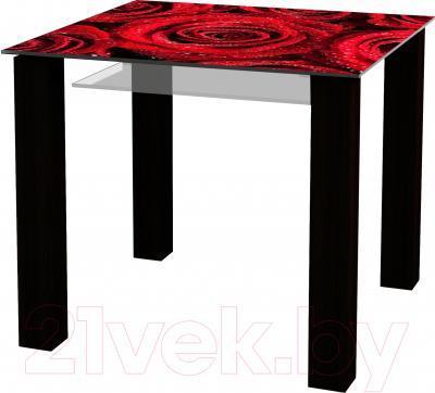 Обеденный стол Artglass Palermo 90 Розы (черный)