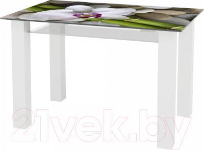 Обеденный стол Artglass Palermo 120 Орхидея белая (белый)