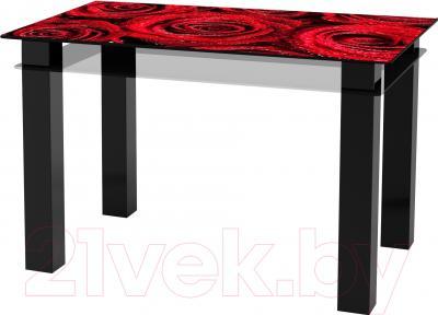 Обеденный стол Artglass Tandem 120 Розы (черный)