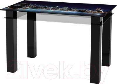 Обеденный стол Artglass Tandem 120 Ночной город (черный)