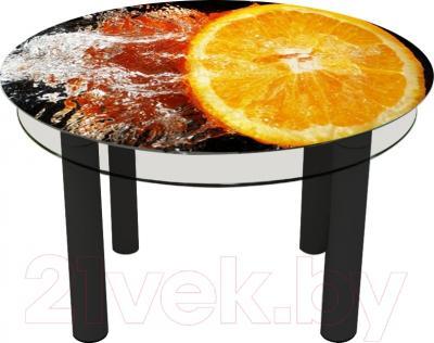 Обеденный стол Artglass Орхидея Апельсин (черный)