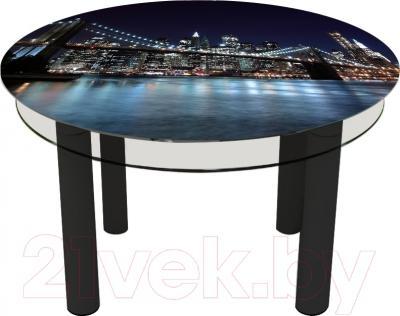 Обеденный стол Artglass Орхидея Ночной город (черный)