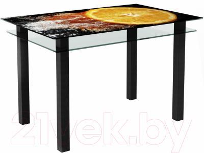 Обеденный стол Artglass Прима Апельсин (черный)