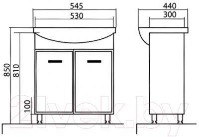 Тумба с умывальником Аква Родос Декор 55 - технический чертеж