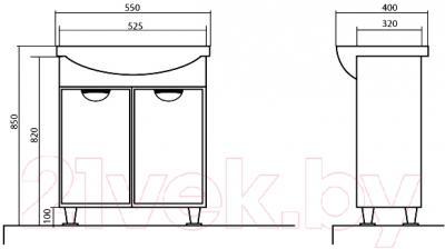 Тумба с умывальником Аква Родос Глория 55 / 05GL55 - технический чертеж