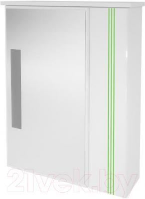 Шкаф с зеркалом для ванной Ванланд Квадро Кз 2-60 (зеленый)