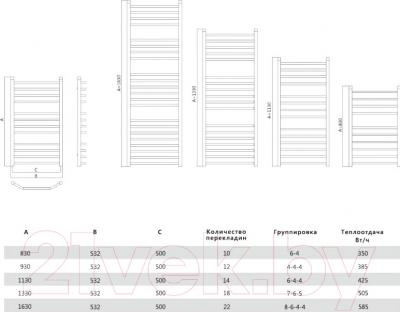 Полотенцесушитель водяной Terminus Виктория Люкс 32/20 П12 500x930 - схема